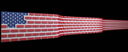 national border: American flag as a brick wall, border protection concept, 3d illustration