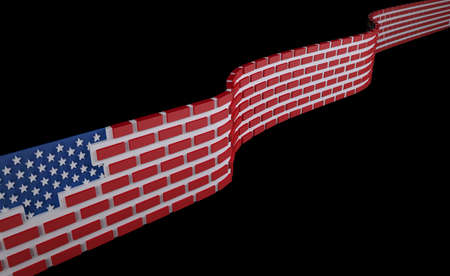 American flag as a brick wall, border protection concept, 3d illustration