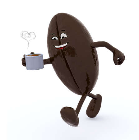coffee bean with arms and legs that is walking, isolated 3d illustration