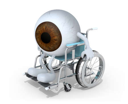 brown eyeball with arms and legs on a wheelchair isolated 3d illustration