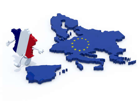 seperated: map of France with arms and legs that runs away from Europe, 3d illustration