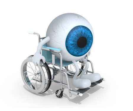 blue eyeball with arms and legs on a wheelchair isolated 3d illustration