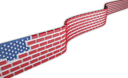 American flag as a brick wall, border protection concept, isolated on white background 3d illustration Stock Photo