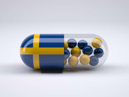 Pill with Swedish flag wrapped around it and red ball inside, 3d illustration