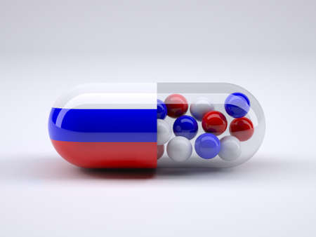 Pill with Russian flag wrapped around it and red ball inside, 3d illustration Stock Photo