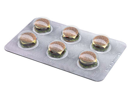 roasted: burger pills in blister isolated on white background, 3d illustration Stock Photo