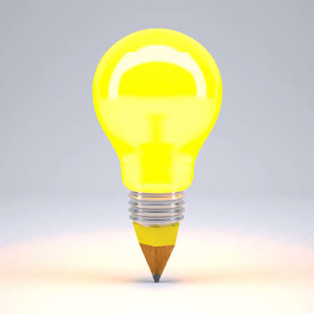 pencil yellow lightbulb on gray background, 3d illustration Stock Photo