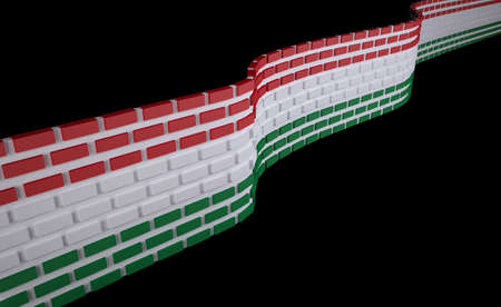 polity: Hungarian flag as a brick wall, border protection concept, 3d illustration