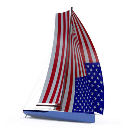 sailboat with sail colored as american flag, 3d illustration