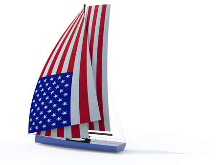 spinnaker: sailboat with sail colored as american flag, 3d illustration