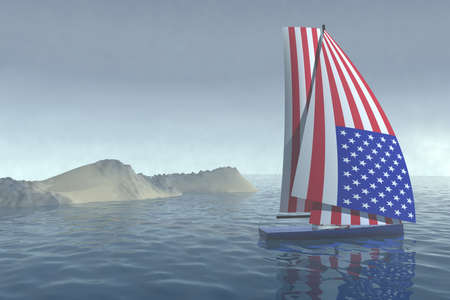 sailing boat with colored sail as the American flag that cruises the sea, 3d illustration