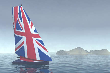spinnaker: sailboat with sail colored as UK flag on the sea, 3d illustration