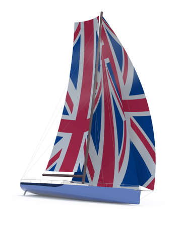 spinnaker: sailboat with sail colored as UK flag, 3d illustration Stock Photo