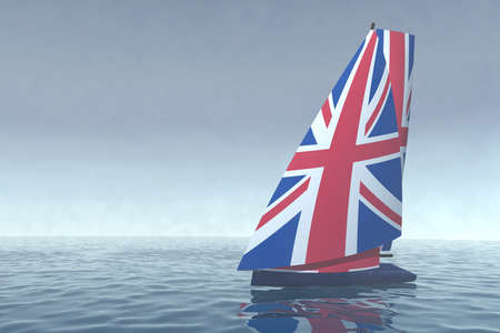sailboat with sail colored as UK flag on the sea, 3d illustration