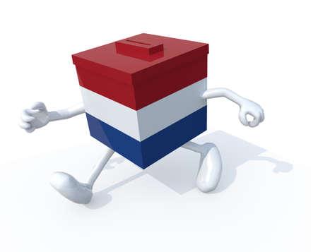 electorate: Dutch election ballot box whit arms, legs runnning away, 3d illustration