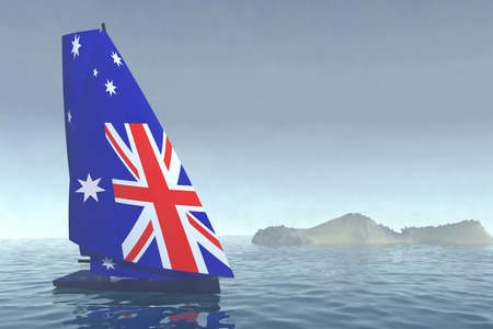 sailboat with sail colored as australian flag on the sea, 3d illustration