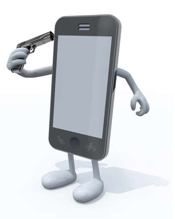 smartphone kill itself, the concept of obsolescence, 3d illustration