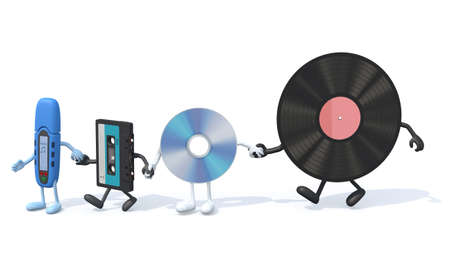 many audio support with arms and legs hand in hand, 3d illustration