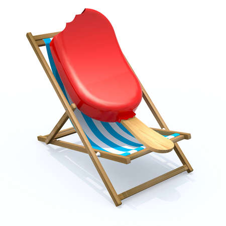 ice lolly that rest in beach chair, 3d illustration Stock Photo