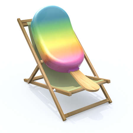 popsicle: ice lolly that rest in beach chair, 3d illustration Stock Photo