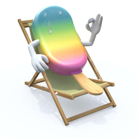 that: ice lolly cartoon that rest in beach chair, 3d illustration Stock Photo