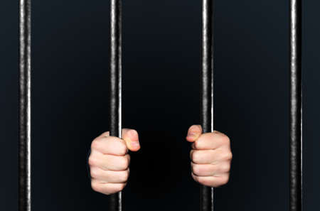 convicted: Hands holding Jail Bars, 3d illustration