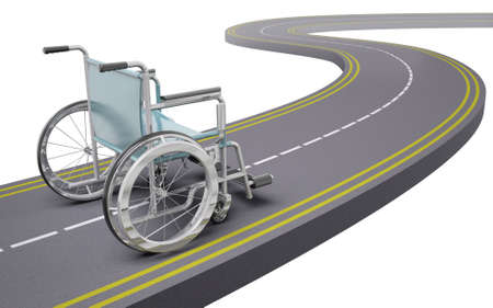 Wheelchair on a road, 3d illustration Stock Photo