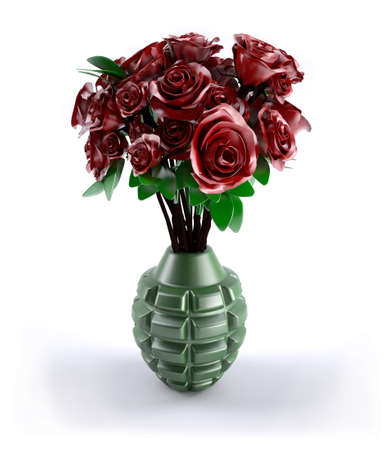 Hand grenade with many red roses inside, 3d illustration Stock Photo