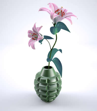 Hand grenade with flowers inside, 3d illustration