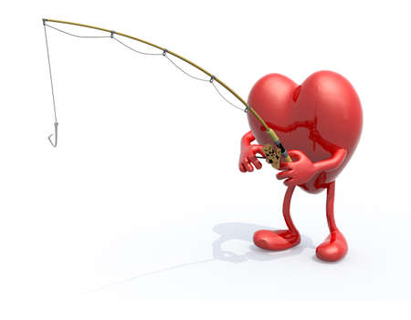 heart with arms, legs, fishing pole on hand, 3d illustration