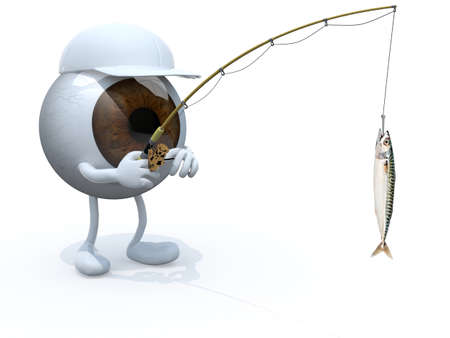 obsession: big eyeball with arms, legs, fishing pole on hand and fish on hook, 3d illustration