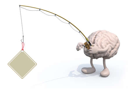 obsession: human brain with arms, legs, fishing pole on hand fishing a label, 3d illustration