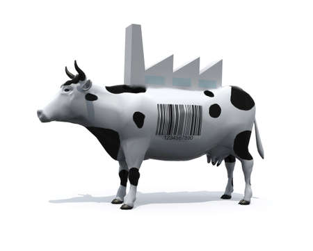 cow with a barcode on skin and a factory on his back, 3d illustration Stock Photo