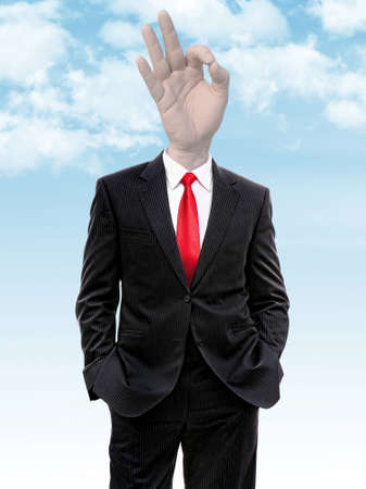 communicate  isolated: business man with hand ok gesture instead of head, 3d illustration Stock Photo