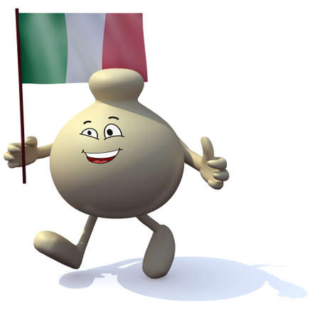 Cheese with arms, legs and italian flag on hand, 3d illustration