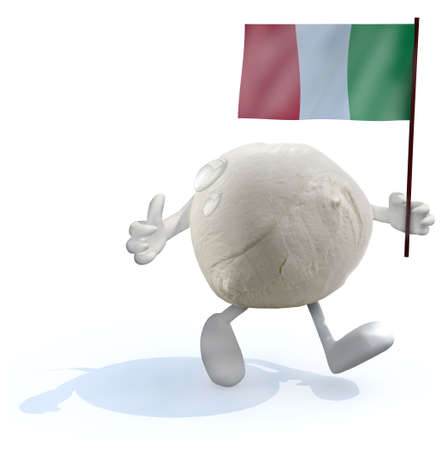 mozzarella cheese with arms, legs and italian flag on hand, 3d illustration