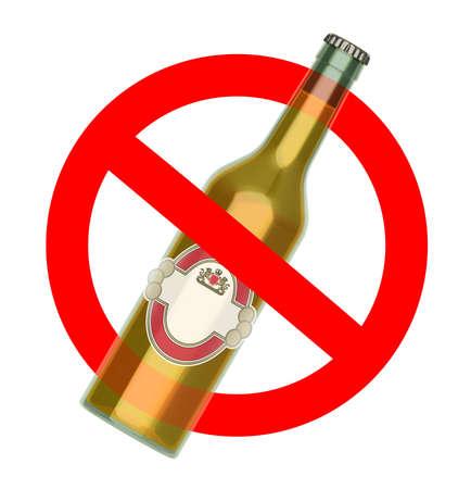 alcoholismo: No para lanzar signo de la botella de cerveza, concepto de No Alcohol, ilustración 3d