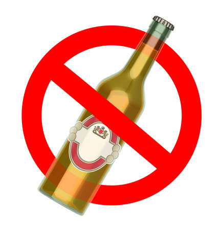 Not to throw beer bottle sign, No Alcohol concept, 3d illustration Stock Photo