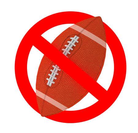rugby ball forbidden sign, 3d illustration