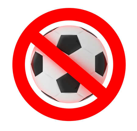 football soccer forbidden sign, 3d illustration Stock Photo