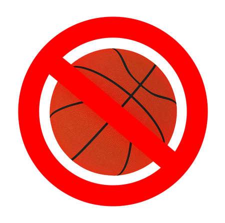 basketball forbidden sign, 3d illustration Stock Photo