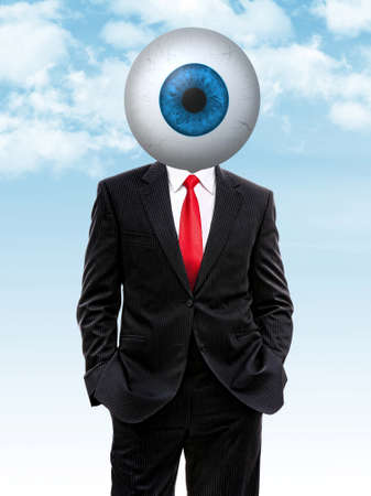 Business man with blue eye ball instead of head, 3d illustration Stock Photo