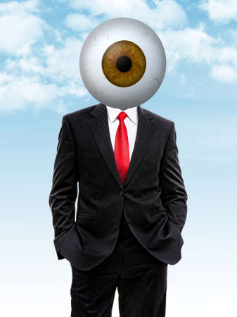 Business man with brown eye ball instead of head, 3d illustration