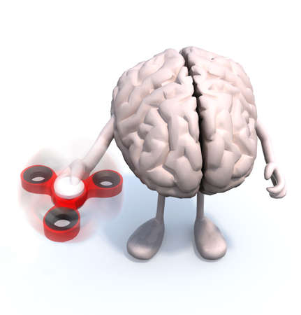 human brain with arms and legs thats play with fidget spinner, 3d illustration Stock Photo