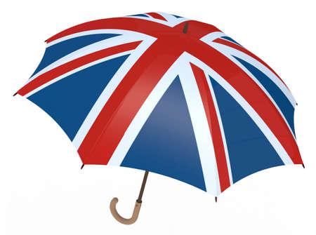british culture: Umbrella with flag of United Kingdom isolated on white, 3D illustration