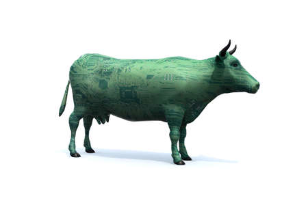 Cow that is colored like an electronic circuit. Synthetic meat concept, 3d illustration