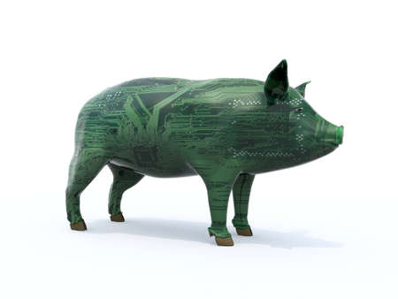 Pig that is colored like an electronic circuit. Synthetic meat concept, 3d illustration Stock Photo