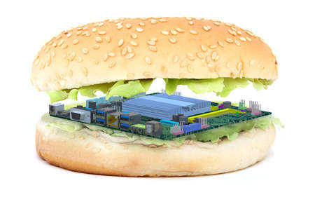 Sandwich with pc mother board instead of an burger, synthetic meat concept, 3d illustration