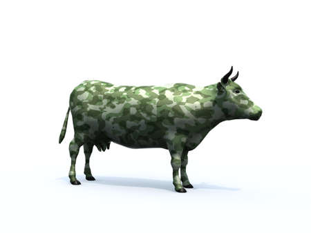 paintball: Cow colorized with camouflage material, 3d illustration Stock Photo