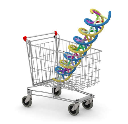 shopping cart with dna molecule inside, 3d illustration Stock Photo